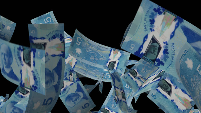 Falling Canadian dollar Video Effect simulates Falling 5 Canadian dollar banknotes with alpha channel in 4k resolution