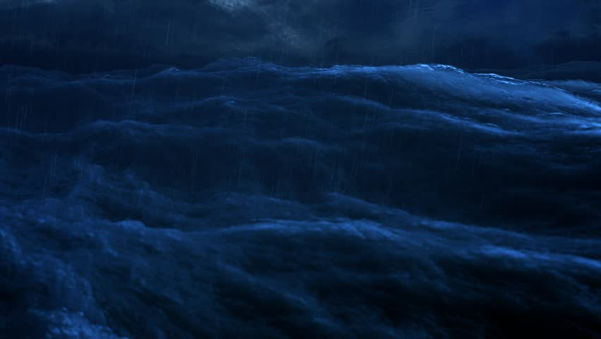 Rough sea rain loop of big waves in an agitated night ocean. Camera goes underwater several times, 4k Great background for movie credits or intro. (seamless loop, 4k,UHD, 3840 X 2160)