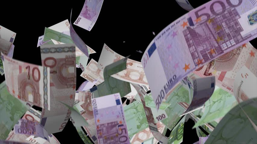 Falling Euro banknotes money Video Effect simulates Falling Mixed Euro banknotes money with alpha channel in 4k resolution  | Shutterstock HD Video #8547223