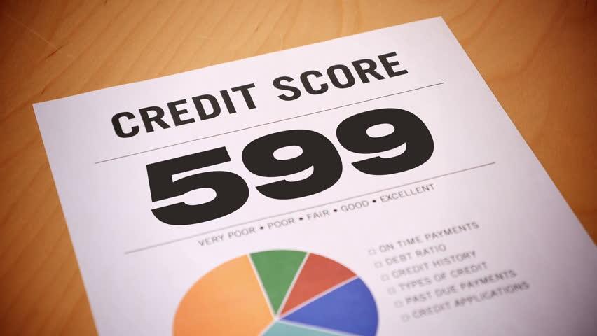A fictional credit report counts up.