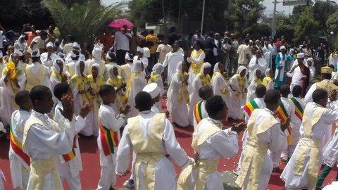 ADDIS ABABA, ETHIOPIA - JANUARY 19: Ethiopian Orthodox followers celebrate Timket, the Ethiopian Orthodox celebration of Epiphany, on January 19, 2013 in Addis Ababa.