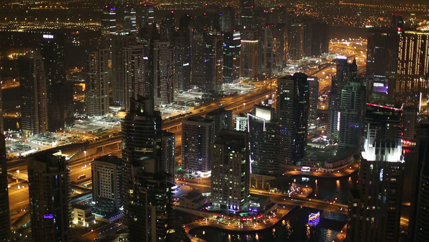 Aerial view Sheikh Zayed Road with Dubai Marina in United Arab Emirates at night | Shutterstock HD Video #8563504