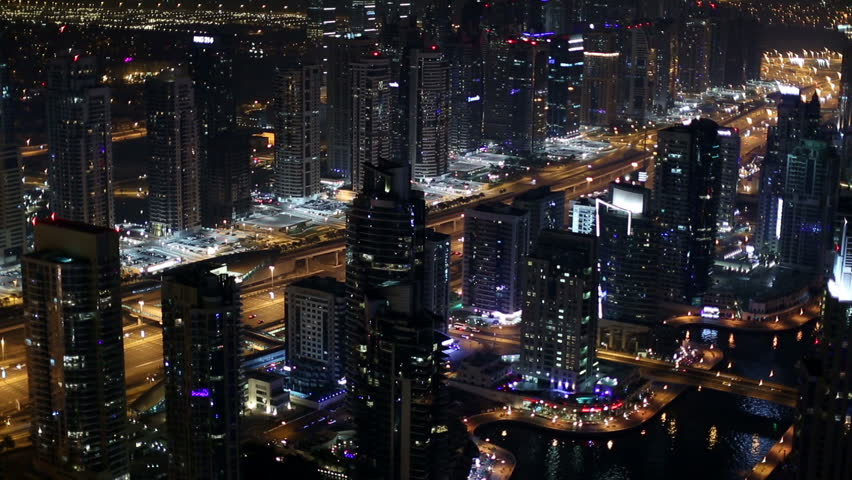 Aerial view Sheikh Zayed Road with Dubai Marina in United Arab Emirates at night | Shutterstock HD Video #8563507
