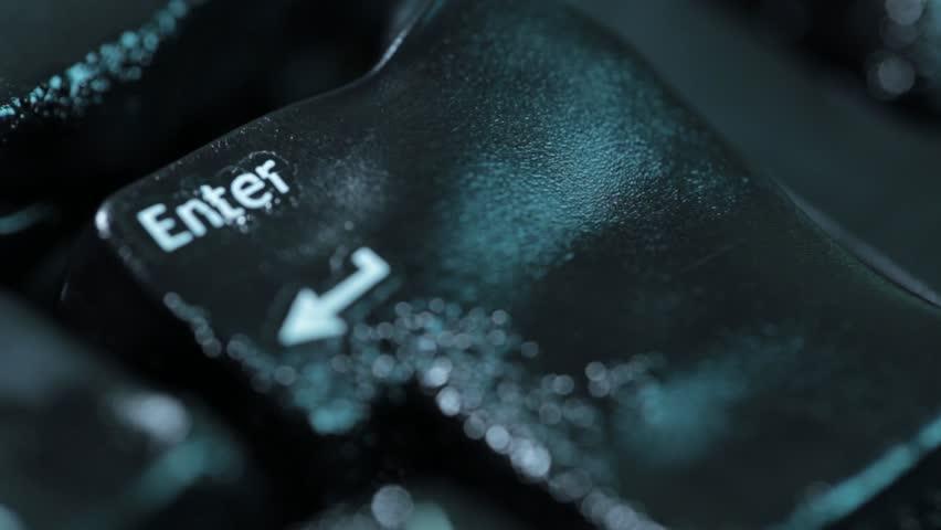 Melting computer keyboard Enter key. Plastic, high temperature.
