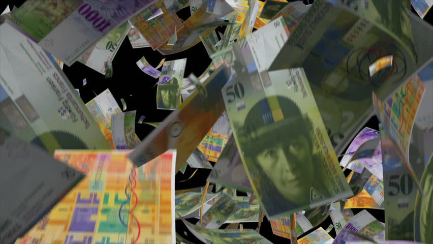 Falling Switzerland Money  Video Effect simulates Falling Mixed Swiss franc Money banknotes with alpha channel in 4k resolution  | Shutterstock HD Video #8580709