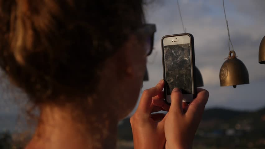 Woman Taking Picture Using a Smartphone. Slow Motion. HD, 1920x1080. | Shutterstock HD Video #8582827