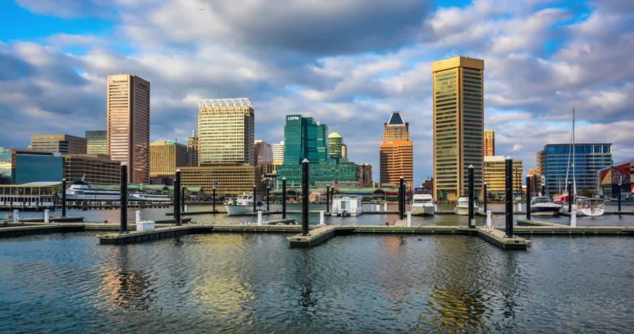 Time lapse of the Baltimore Inner Harbor and skyline.