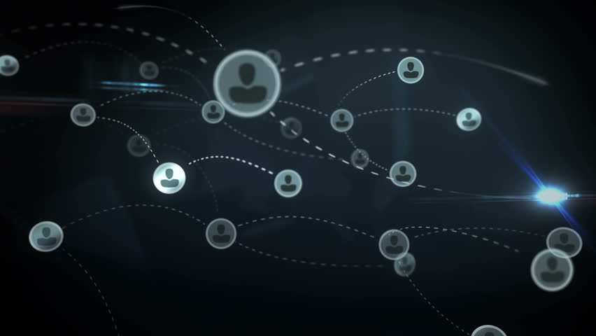 Social network abstract users, sms, messages, media concept, blue dark background with animated links