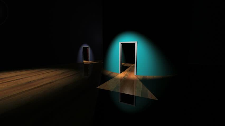 Hallway of closing doors with sound