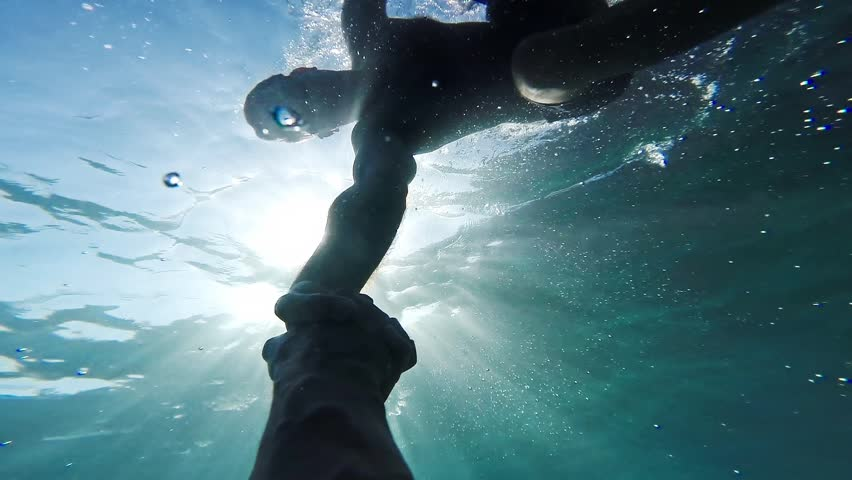 Savior Rescuer Salvation Hand Man Drowning Saved By Lifeguard Underwater Sun Shining Rescue New Hope Second Chance Concept Gopro HD