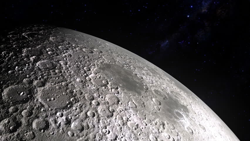 Flying over the Moon surface. View from a spaceship. Close up view. Approaching to the Moon. Part 1. 4096x2304. 4K. 30fps.