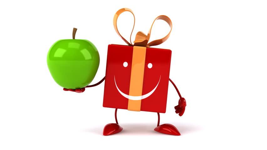 Fun gift and apple   Shutterstock HD Video #8651407