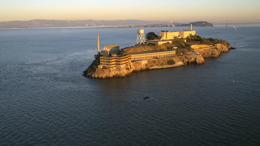 Aerial view The Rock Alcatraz Island abandoned Prison tourist venue San Francisco Bay California USA 4K