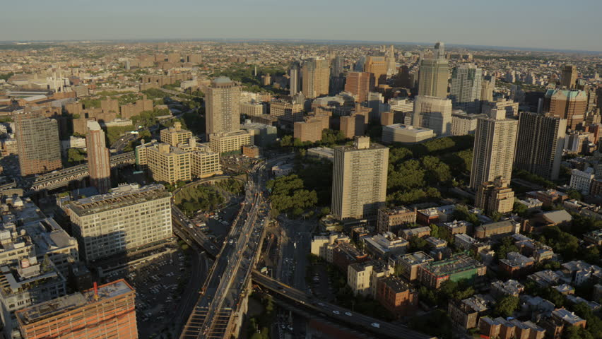 Aerial New York Brooklyn Road Bridge traffic commuter office suburban Downtown Brooklyn District buildings USA RED EPIC   Shutterstock HD Video #8657734