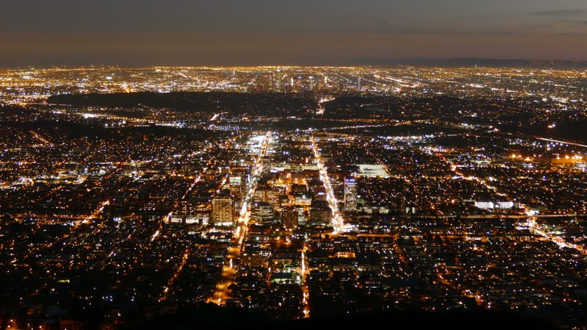 Dusk to night time lapse view of Glendale and downtown Los Angeles, California.   | Shutterstock HD Video #8659330