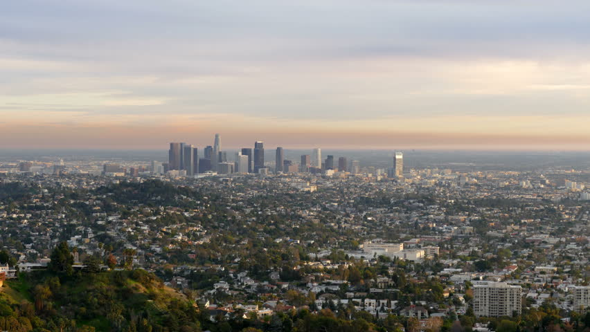 Last afternoon light downtown Los Angeles cityscape time lapse view.   Shutterstock HD Video #8659333