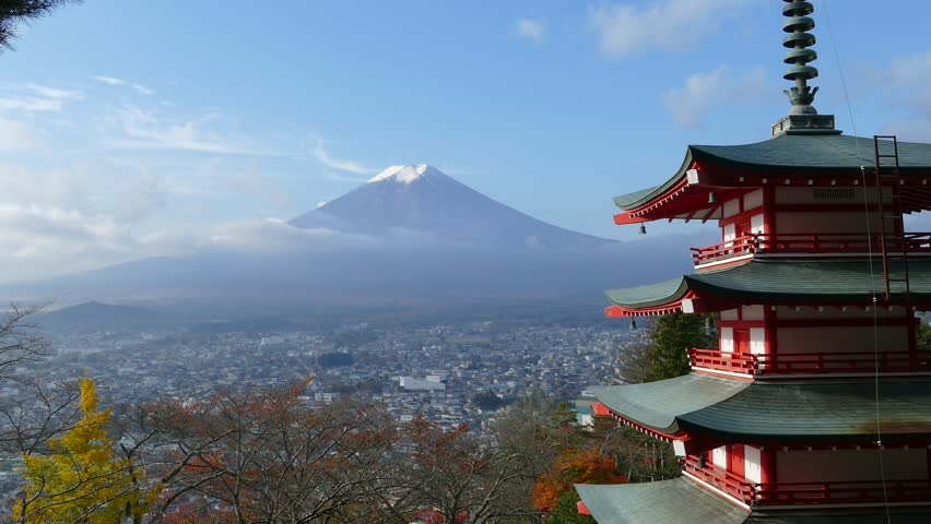 Mount Fuji and Chureito Pagoda, Japan. | Shutterstock HD Video #8690809