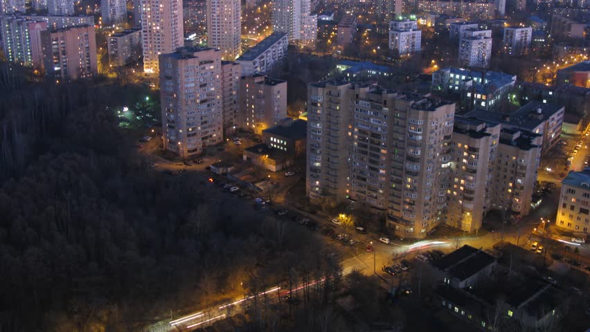 One of the districts of Moscow at autumn, gradually darkens and night falls. Time lapse. | Shutterstock HD Video #8744266