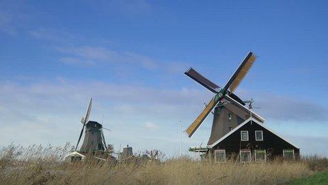 Historic windmills at the Zaanse Schans. Holland 4K