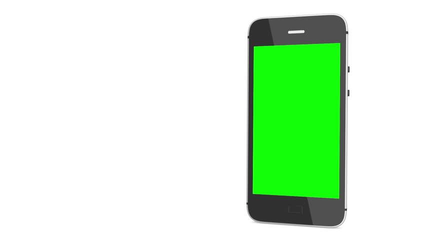 chroma key screen smart phone. smart phone on white. CG smart phone. rotation smart phone. isolated smart phone. flying smart phone. animation smart phone. showing on smart phone.