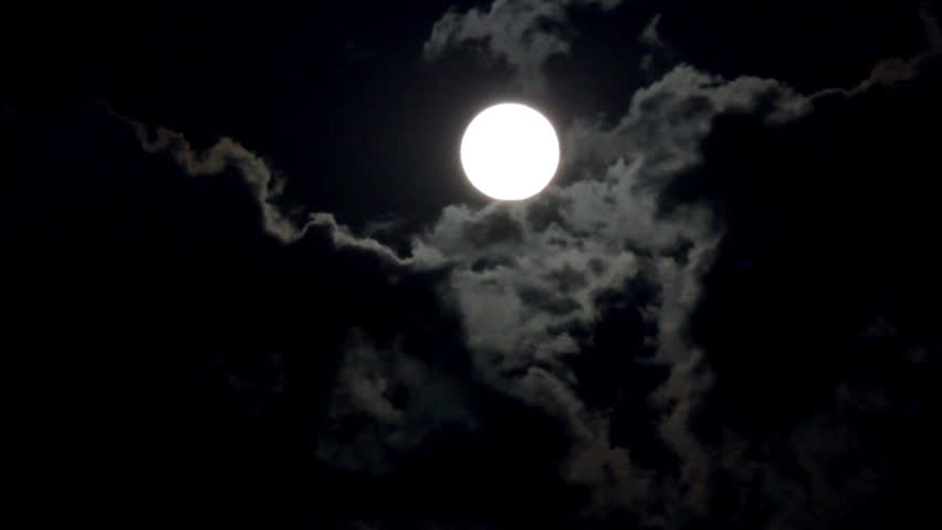 Timelapse with moon moving between clouds [best for web use]   Shutterstock HD Video #879709