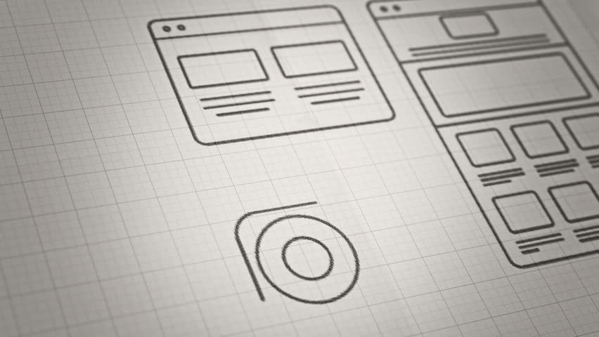 Stylized Interface design process sketch animation concept. Technology drawing animation. Different colors in my profile. | Shutterstock HD Video #8801512