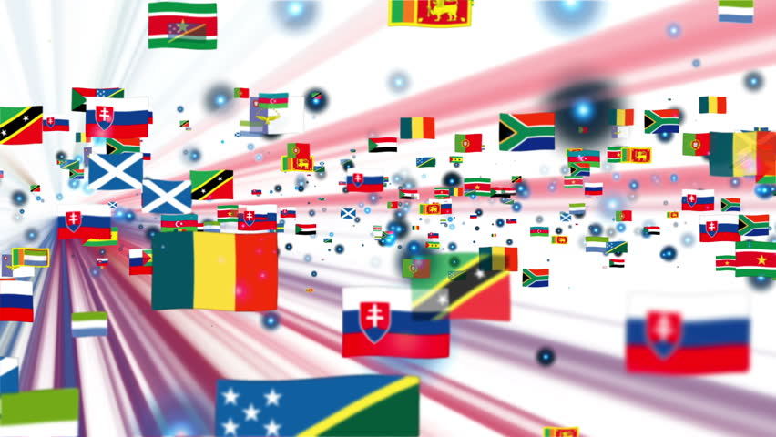 Flags of the World flying, shine, white