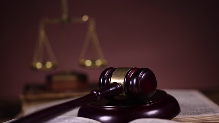 Mallet of judge, legal code and scales | Shutterstock HD Video #8836771