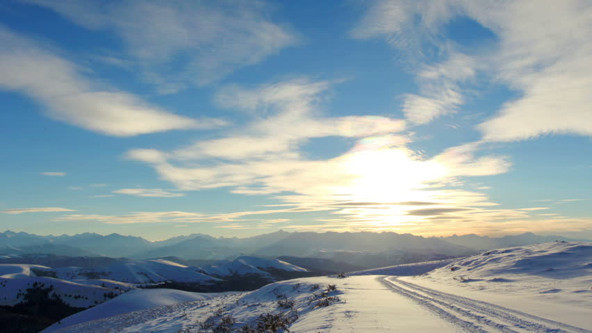 Timelapse sunset in the mountains, Circumhorizontal arc, Northern Caucasus, Russia. FULL HD  | Shutterstock HD Video #8845288
