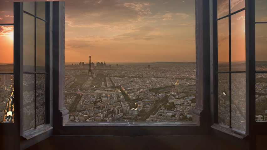 Paris skyline seen from an open window aerial day to night timelapse at the sunset to night city lighting up sparking eiffel tower panorama from montparnasse 4k   Shutterstock HD Video #8852560