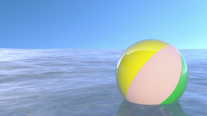 Floating beach ball from left to right. (loop ready animation)