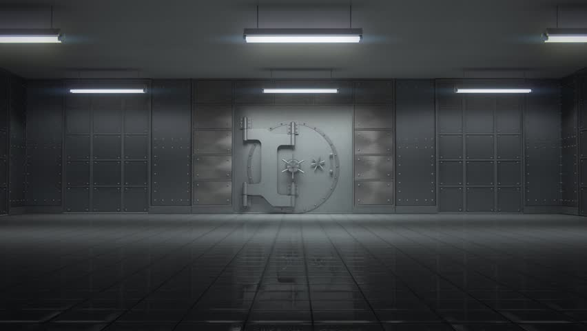 3d animation of opening a huge empty bank vault with camera going toward