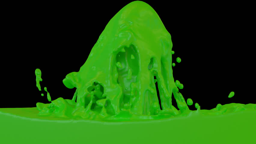 Animated fountain of green paint. Transparent background (Alpha channel embedded with HD PNG file) | Shutterstock HD Video #8896861