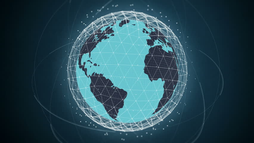 Flat design spinning Earth with communication network and satellites. This animation is a seamless loop. This is a series, check my portfolio for other color variations. Bluish green version. | Shutterstock HD Video #8899519