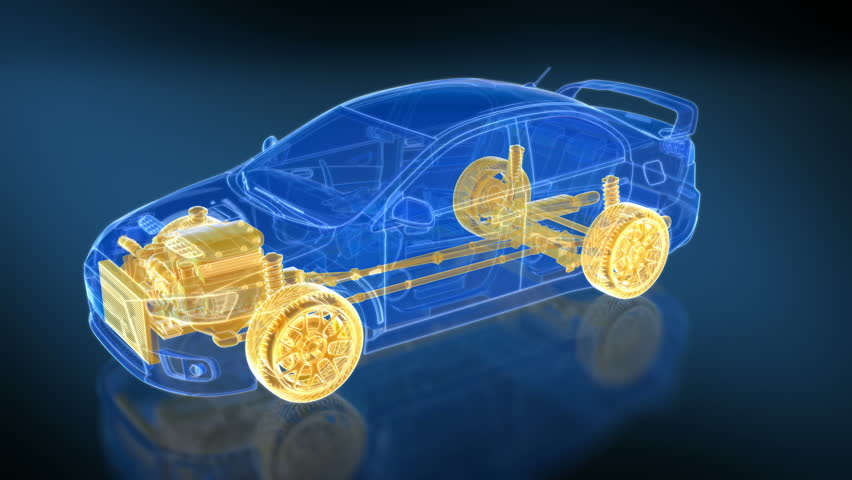 3 loopable X-ray Car animations. Wireframe transparent Car rotating 360.