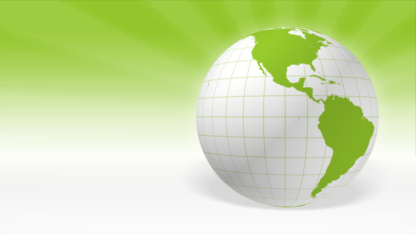 Spinning white and green 3D Earth loop with copy space in HD (1920x1080 Full HD, 30sec, loop, maps by NASA)