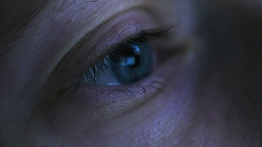 Closeup shot of woman eye surfing internet at night | Shutterstock HD Video #8956939