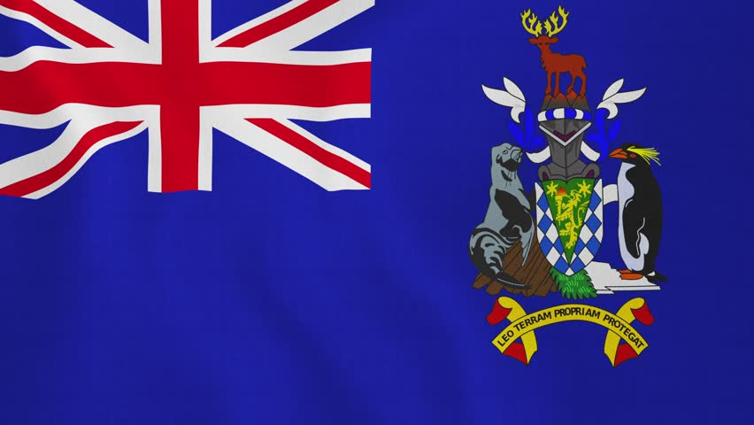 [loopable] Flag of South Georgia and the South Sandwich Islands. South Georgia and the South Sandwich Islands official flag gently waving in the wind. Clip ID: ax642c | Shutterstock HD Video #8959912