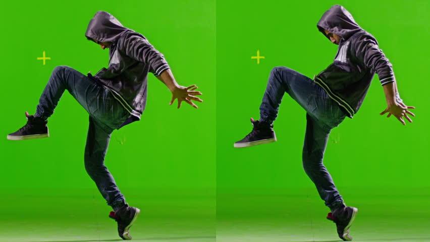 FEW SHOTS! Professional Hip Hop break dance. Dancing on Green screen. Few shots. Slow motion.