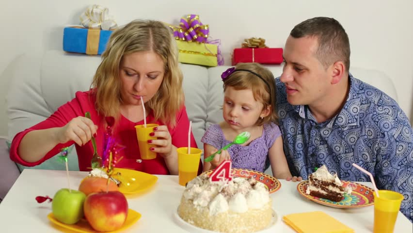 Fabulous Three Of Family Are Eating Birthday Cake At The Table Funny Birthday Cards Online Hendilapandamsfinfo