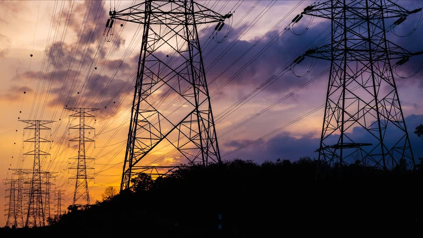 4K. Timelapse of Silhouette electricity pylons in sunset background  - ULTRA HD, 4096x2304.