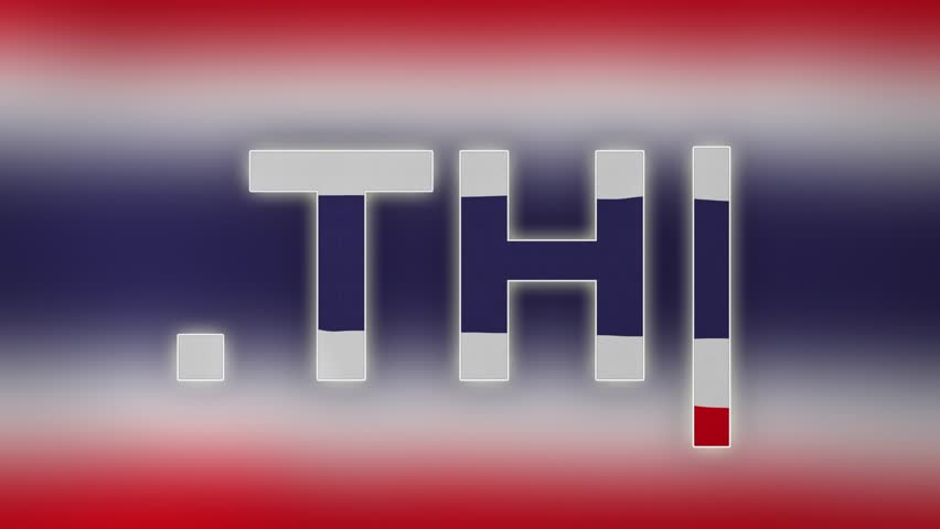 "TH - internet domain of Thailand. Typing top-level domain "".TH"" against blurred waving national flag of Thailand. Highly detailed fabric texture for 4K resolution. Clip ID: ax1045c 