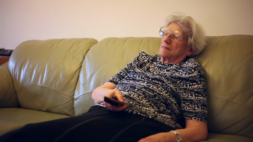 Watching Tv Old Woman Fall Stock Footage Video 100 Royalty Free