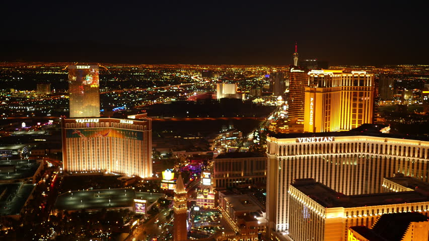 Las Vegas, Nevada, USA - November 26, 2014: Aerial view of Las Vegas Strip at night | Shutterstock HD Video #9002044