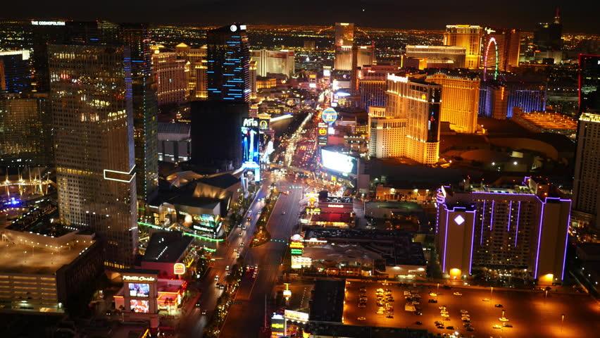 Las Vegas, Nevada, USA - November 26, 2014: Aerial view of Las Vegas Strip at night