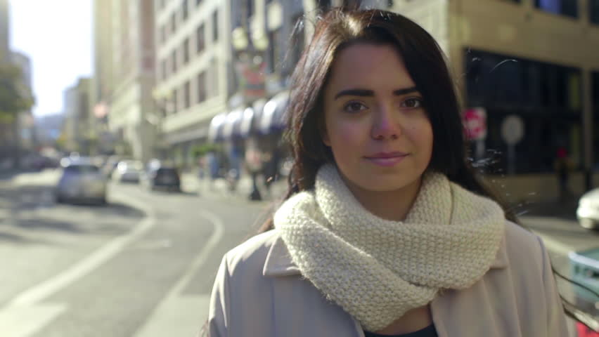 Beautiful Mixed Race Young Woman Smiles In The City (Hair Blows In The Wind) | Shutterstock HD Video #9004081