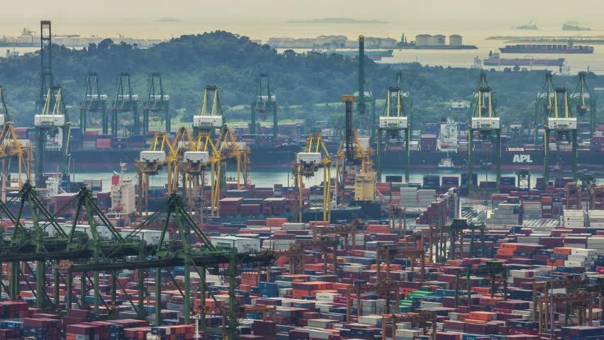 Singapore - october 2014: working day light singapore port 4k time lapse, singapore. | Shutterstock HD Video #9007837
