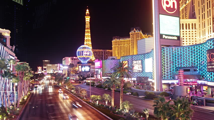 LAS VEGAS - JULY 02, 2014: 4k Las Vegas boulevard at night, time lapse, on July 02, 2014 in Las Vegas | Shutterstock HD Video #9027361