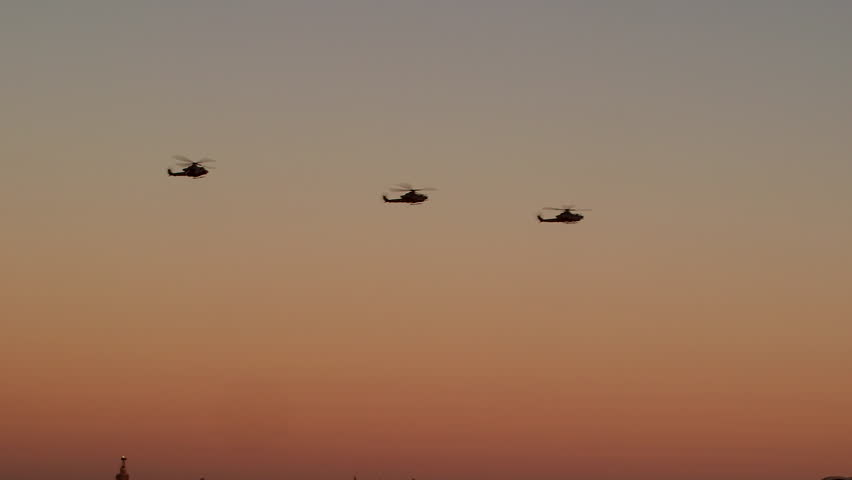 Helicopters returning back to base in the evening