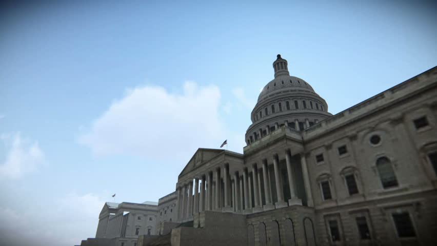 Tour airplane flying over The United States Capitol in Washington, DC 3D computer generated in March - 2015